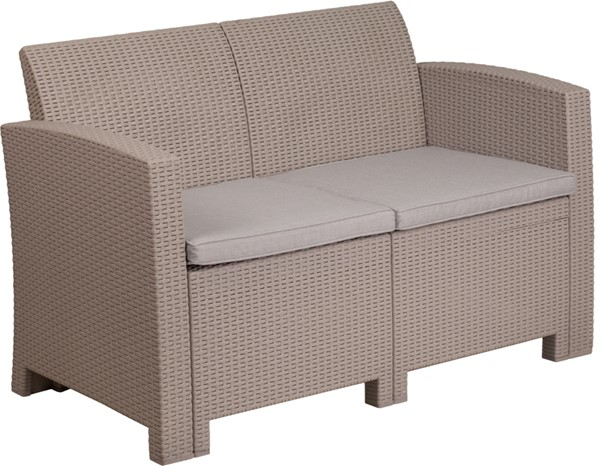 Flash Furniture Light Gray Rattan Loveseat FLF-DAD-SF2-2-GG