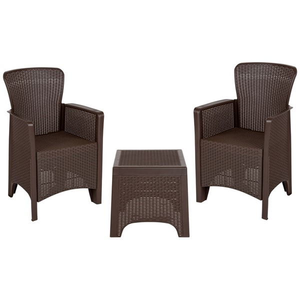 Flash Furniture Chocolate Rattan 3pc Seating Sets FLF-DAD-SF3-2P-SET-CHOC-GG