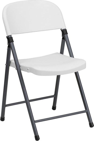 Flash Furniture Hercules White Charcoal Frame Folding Chair FLF-DAD-YCD-50-WH-GG