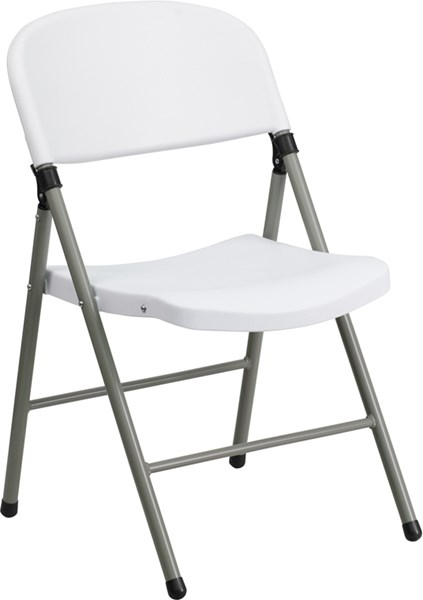 Flash Furniture Hercules White Plastic Gray Frame Folding Chair FLF-DAD-YCD-70-WH-GG