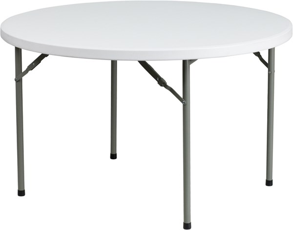 Flash Furniture White Gray Metal Plastic Round Folding Table FLF-DAD-YCZ-122R-GG