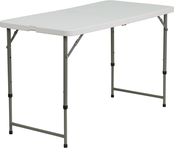Flash Furniture Granite White Plastic Adjustable Height Folding Table FLF-DAD-YCZ-122Z-2-GG