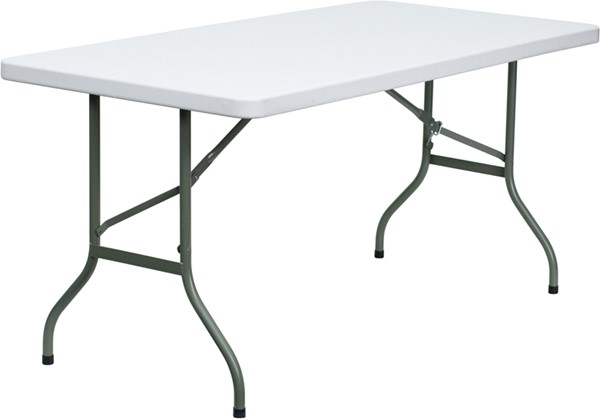 Flash Furniture Granite White Plastic Rectangle Folding Table FLF-DAD-YCZ-152-GG