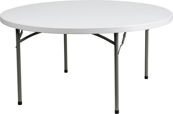 Flash Furniture White Gray 60 Inch Round Folding Table FLF-DAD-YCZ-152R-GW-GG
