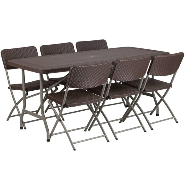 Flash Furniture Brown 7pc Folding Table Set with 6 Chairs FLF-DAD-YCZ-172-61-GG