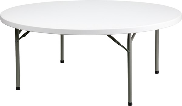 White Gray Metal Plastic 72 Inch Round Folding Table FLF-DAD-YCZ-180R-GW-GG
