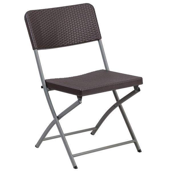 Flash Furniture Hercules Brown Folding Chair with Gray Frame FLF-DAD-YCZ-61-GG