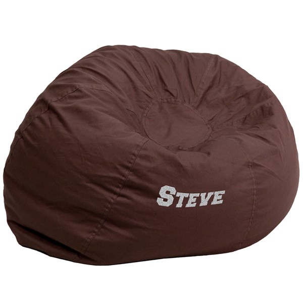 Personalized Oversized Solid Brown Bean Bag Chair FLF-DG-BEAN-LARGE-SOLID-BRN-TXTEMB-GG