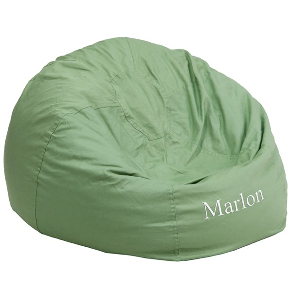 Personalized Oversized Solid Green Bean Bag Chair FLF-DG-BEAN-LARGE-SOLID-GRN-TXTEMB-GG