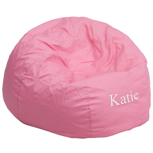Personalized Oversized Solid Light Pink Bean Bag Chair FLF-DG-BEAN-LARGE-SOLID-PK-TXTEMB-GG