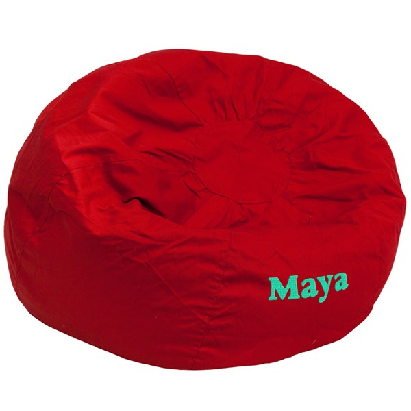 Personalized Oversized Solid Red Bean Bag Chair FLF-DG-BEAN-LARGE-SOLID-RED-TXTEMB-GG