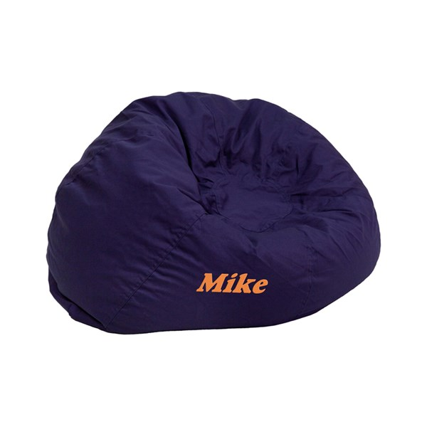 Personalized Small Solid Navy Blue Kids Bean Bag Chair FLF-DG-BEAN-SMALL-SOLID-BL-TXTEMB-GG