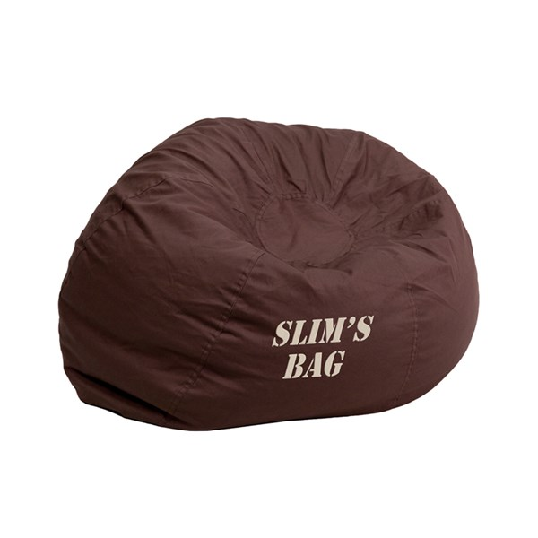 Personalized Small Solid Brown Kids Bean Bag Chair FLF-DG-BEAN-SMALL-SOLID-BRN-TXTEMB-GG