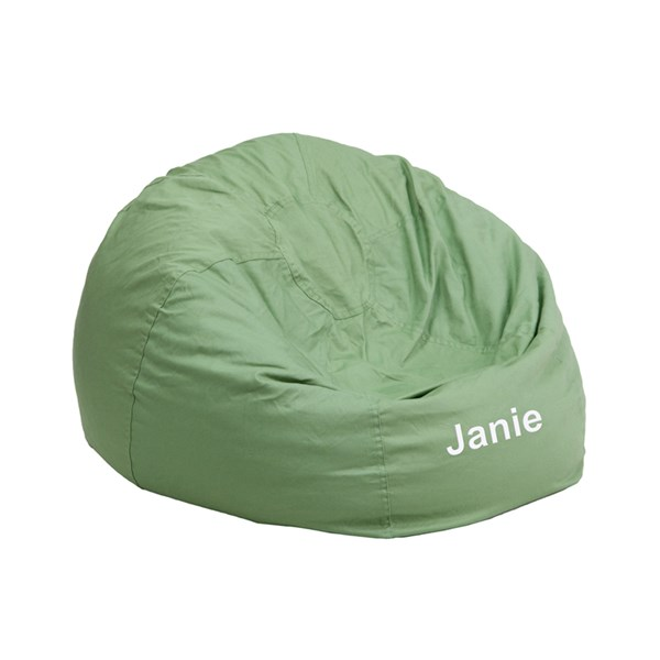 Personalized Small Solid Green Kids Bean Bag Chair FLF-DG-BEAN-SMALL-SOLID-GRN-TXTEMB-GG