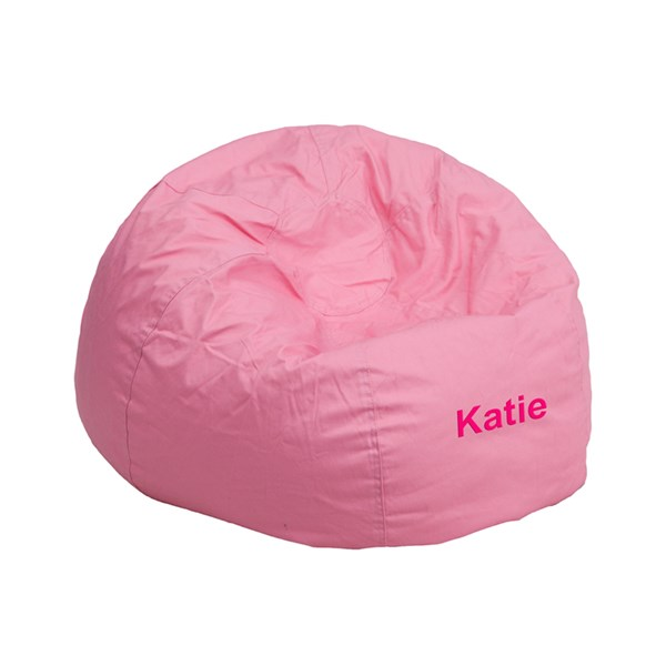 Personalized Small Solid Light Pink Kids Bean Bag Chair FLF-DG-BEAN-SMALL-SOLID-PK-TXTEMB-GG