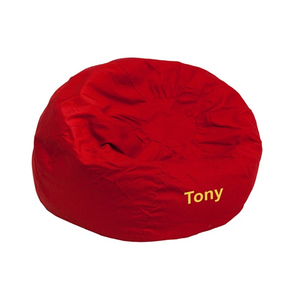 Personalized Small Solid Red Kids Bean Bag Chair FLF-DG-BEAN-SMALL-SOLID-RED-TXTEMB-GG