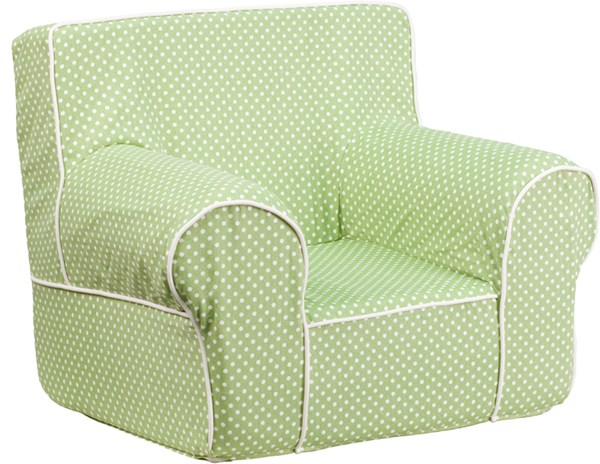 Small Green Dot Kids Chair with White Piping FLF-DG-CH-KID-DOT-GRN-GG