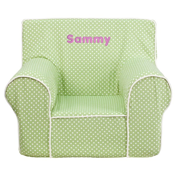Personalized Small Green Dot Kids Chair with White Piping FLF-DG-CH-KID-DOT-GRN-TXTEMB-GG