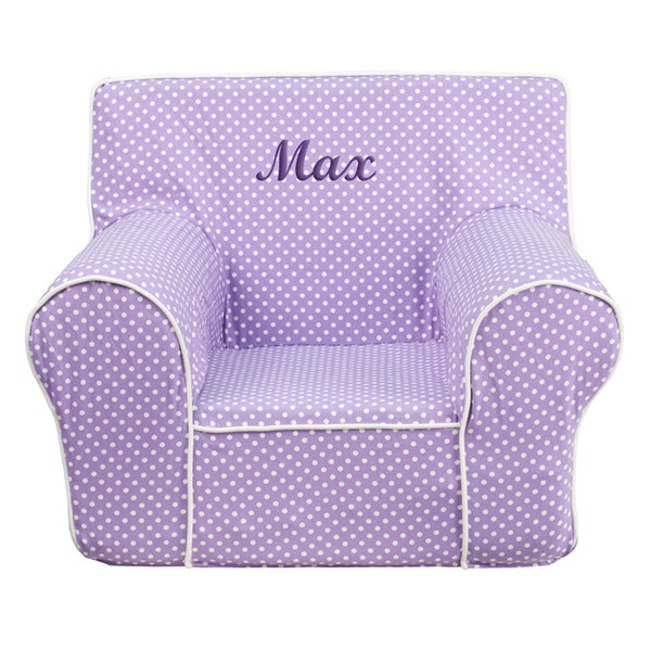 Personalized Small Dot Kids Chair with White Piping FLF-DG-CH-KID-DOT-TXTEMB-GG-KCH-VAR