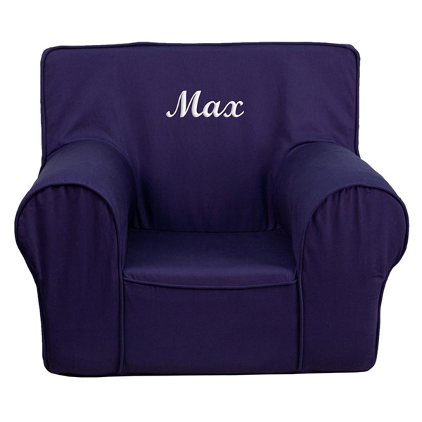 Personalized Small Solid Navy Blue Kids Chair FLF-DG-CH-KID-SOLID-BL-TXTEMB-GG