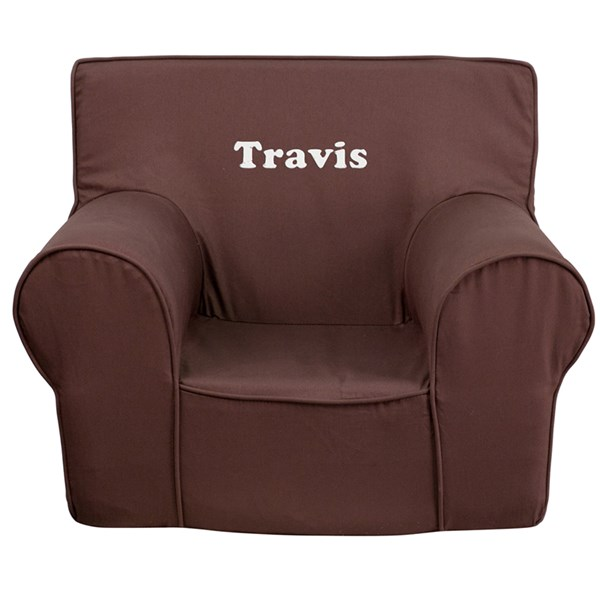 Personalized Small Solid Brown Kids Chair FLF-DG-CH-KID-SOLID-BRN-TXTEMB-GG