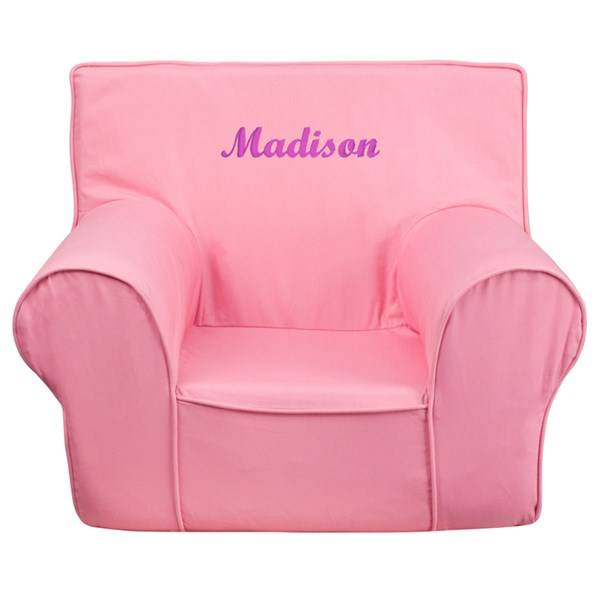 Personalized Small Solid Light Pink Kids Chair FLF-DG-CH-KID-SOLID-PK-TXTEMB-GG