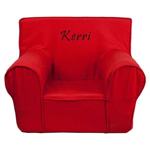 Personalized Small Solid Red Kids Chair FLF-DG-CH-KID-SOLID-RED-TXTEMB-GG