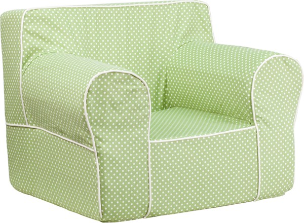 Oversized Green Dot Kids Chair with White Piping FLF-DG-LGE-CH-KID-DOT-GRN-GG