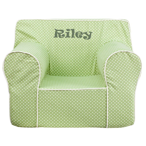 Personalized Oversized Green Dot Kids Chair with White Piping FLF-DG-LGE-CH-KID-DOT-GRN-TXTEMB-GG
