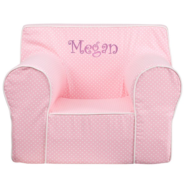 Personalized Oversized Light Pink Dot Kids Chair with White Piping FLF-DG-LGE-CH-KID-DOT-PK-TXTEMB-GG