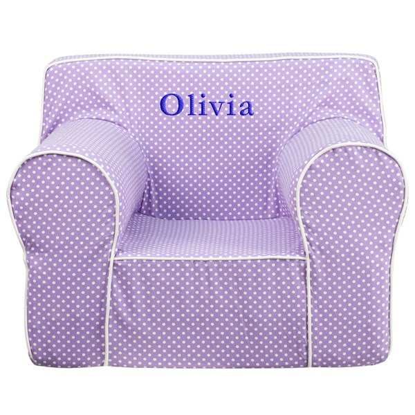Personalized Oversized Lavender Dot Kids Chair with White Piping FLF-DG-LGE-CH-KID-DOT-PUR-TXTEMB-GG