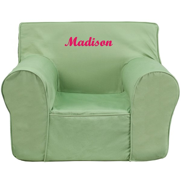 Personalized Oversized Solid Green Kids Chair FLF-DG-LGE-CH-KID-SOLID-GRN-TXTEMB-GG