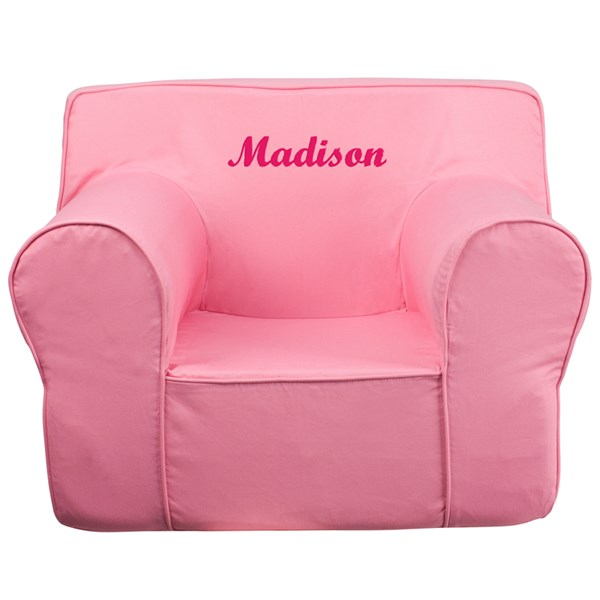 Personalized Oversized Solid Light Pink Kids Chair FLF-DG-LGE-CH-KID-SOLID-PK-TXTEMB-GG