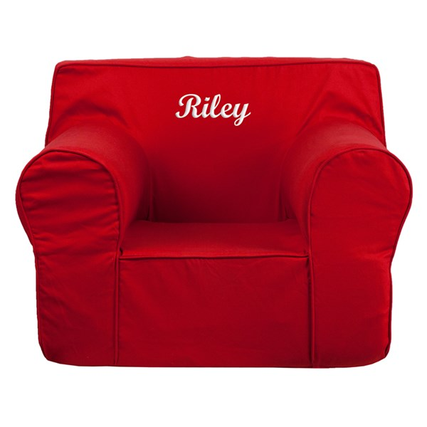 Personalized Oversized Solid Red Kids Chair FLF-DG-LGE-CH-KID-SOLID-RED-TXTEMB-GG