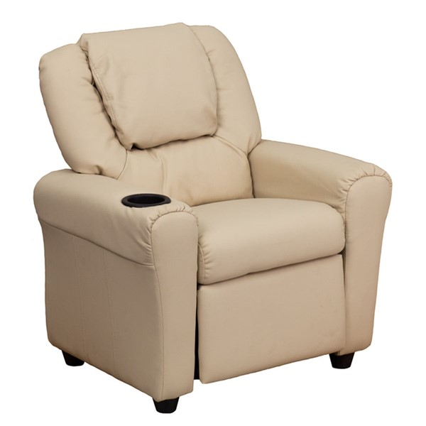 Flash Furniture Beige Vinyl Kids Recliner with Cup Holder and Headrest FLF-DG-ULT-KID-BGE-GG
