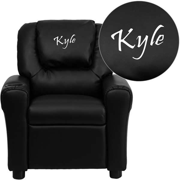 Personalized Black Leather Kids Recliner with Cup Holder and Headrest FLF-DG-ULT-KID-BK-TXTEMB-GG