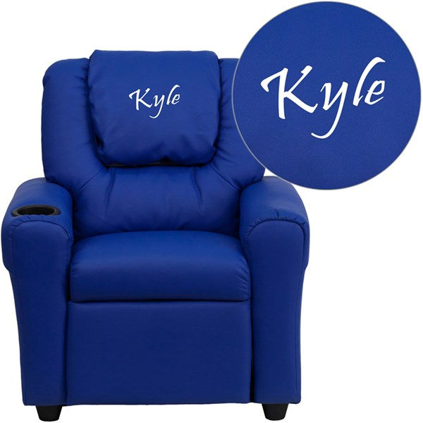 Personalized Blue Vinyl Kids Recliner with Cup Holder & Headrest FLF-DG-ULT-KID-BLUE-TXTEMB-GG