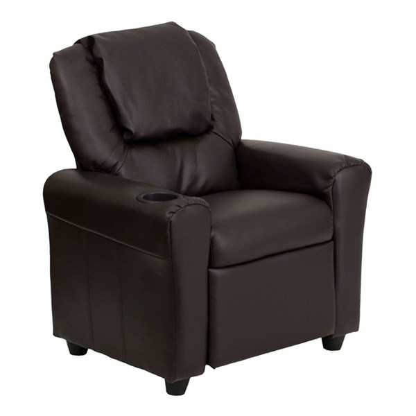Flash Furniture Brown Vinyl Kids Recliner with Cup Holder and Headrest FLF-DG-ULT-KID-BRN-GG