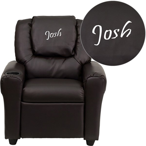 Personalized Brown Leather Kids Recliner with Cup Holder and Headrest FLF-DG-ULT-KID-BRN-TXTEMB-GG