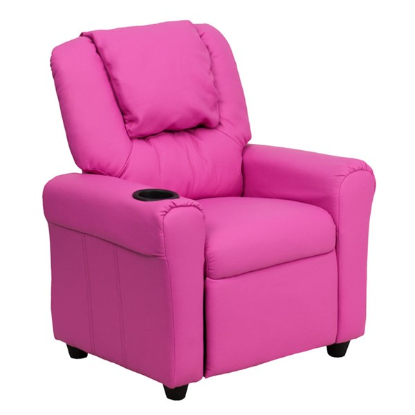 Flash Furniture Hot Pink Vinyl Kids Recliner with Cup Holder and Headrest FLF-DG-ULT-KID-HOT-PINK-GG