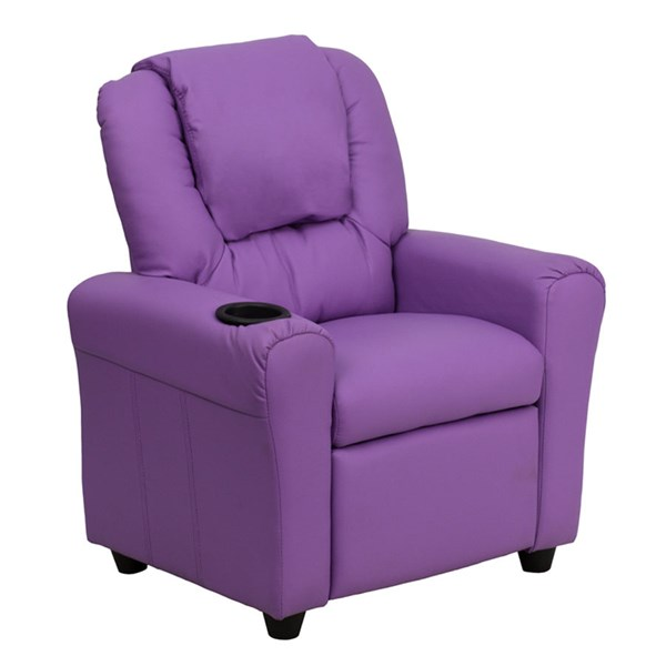 Flash Furniture Lavender Vinyl Kids Recliner with Cup Holder and Headrest FLF-DG-ULT-KID-LAV-GG