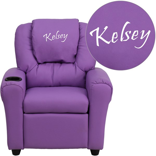 Personalized Lavender Vinyl Kids Recliner with Cup Holder & Headrest FLF-DG-ULT-KID-LAV-TXTEMB-GG