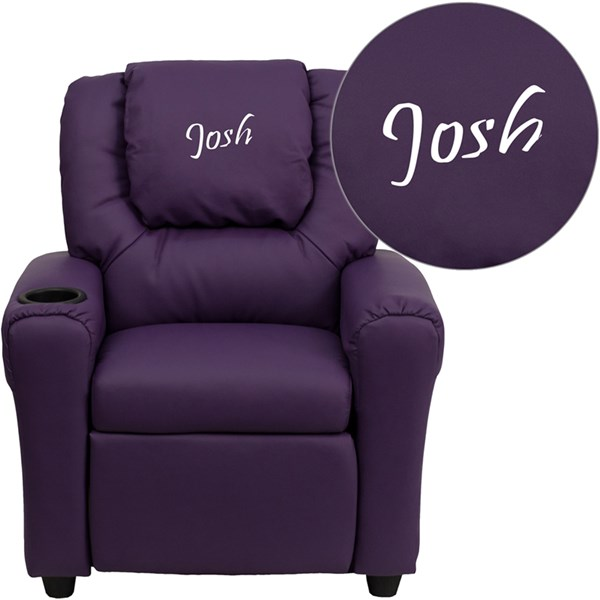 Personalized Purple Vinyl Kids Recliner with Cup Holder & Headrest FLF-DG-ULT-KID-PUR-TXTEMB-GG