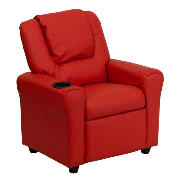 Flash Furniture Red Vinyl Kids Recliner with Cup Holder and Headrest FLF-DG-ULT-KID-RED-GG