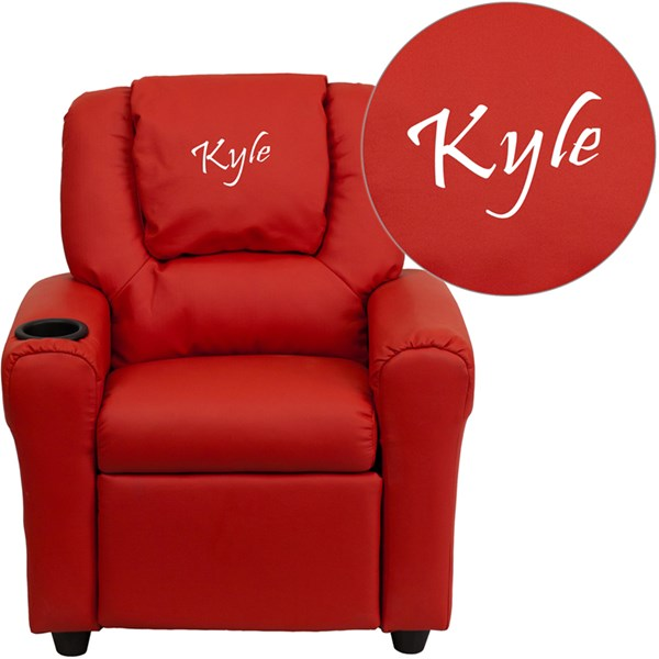 Personalized Red Vinyl Kids Recliner with Cup Holder & Headrest FLF-DG-ULT-KID-RED-TXTEMB-GG