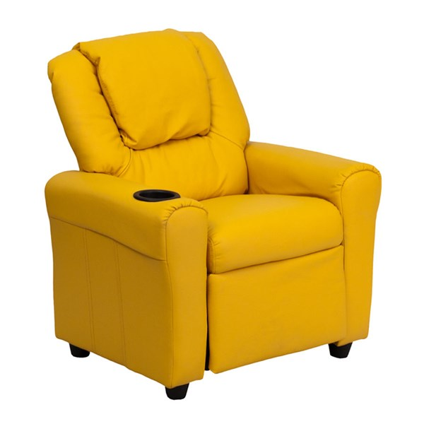 Flash Furniture Yellow Vinyl Kids Recliner with Cup Holder and Headrest FLF-DG-ULT-KID-YEL-GG