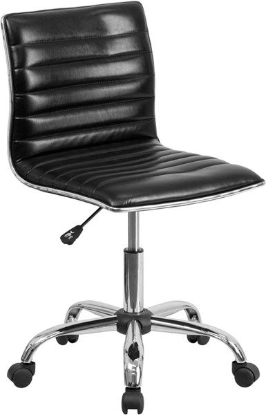Flash Furniture Low Back Armless Black Ribbed Designer Swivel Task Chair FLF-DS-512B-BK-GG
