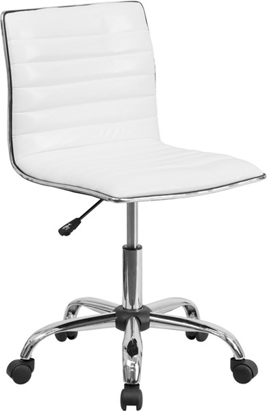 Flash Furniture Low Back Armless White Ribbed Designer Swivel Task Chair FLF-DS-512B-WH-GG