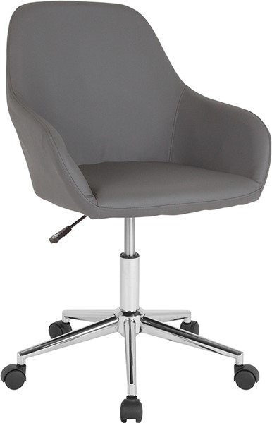 Flash Furniture Cortana Gray Leather Mid Back Chair FLF-DS-8012LB-GRY-GG