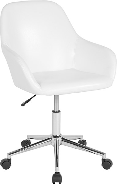 Flash Furniture Cortana White Leather Mid Back Chair FLF-DS-8012LB-WH-GG